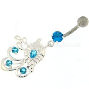 Jeweled Leaf with Floral 925 Sterling Silver Belly Ring