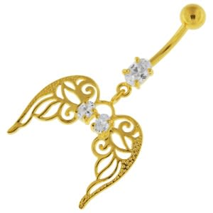 14G 10mm Yellow Gold Plated Silver Clear Jewel Angel Wings W/ Floral Belly Bar