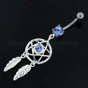 Center Jeweled Star Dream Catcher Dangling Navel Ring