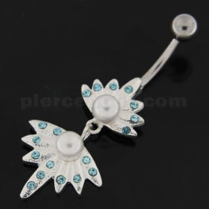 Pearls in the Jeweled Shell Navel Belly Button Ring