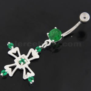Jeweled Irish Cross Navel Belly Button Ring