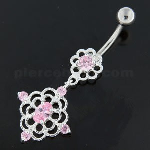 Jeweled Flower Cut out Navel Belly Button Ring