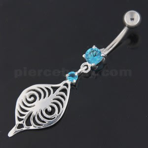 Flower Leaf Jeweled Sterling Silver Navel Belly Button Bar