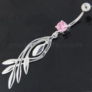 925 Sterling Silver Plain Twisted Leaf Belly Button Ring