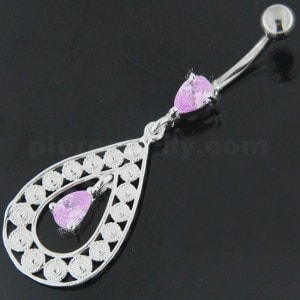 925 Sterling Silver Multi flowers in Tear Shape Belly Button Ring