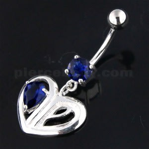 Jeweled Heart Cut out 925 Sterling Silver Navel Bar