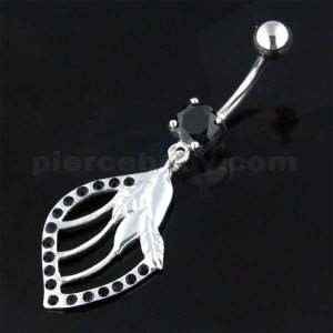 Jeweled Floral Shell 925 Sterling Silver Navel Bar