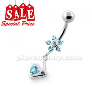 Fancy Jeweled Flower Dangling Silver Navel Bar