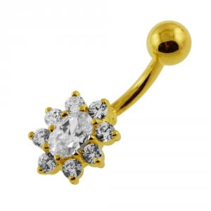 14G 10mm Yellow Gold Plated Sterling Silver Clear Jewel Flower Navel Belly Bar