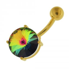14G 10mm Yellow Gold Plated Silver Rainbow Jeweled Round Non-Moving Belly Bar