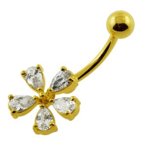 14G 10mm Yellow Gold Plated Silver Clear Jeweled 5 Petal Flower Belly Bar