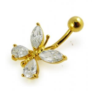 14G 10mm Yellow Gold Plated Silver Clear Jeweled Fancy Butterfly Belly Bar