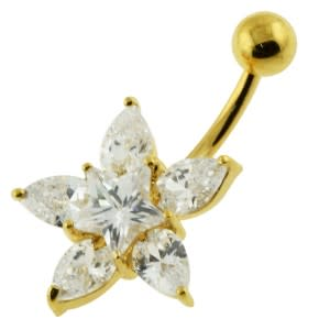 14G 10mm Yellow Gold Plated Sterling Silver Clear Jeweled Fancy Star Belly Bar