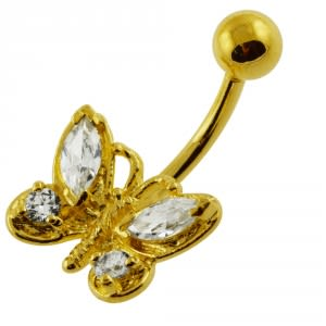 14G 10mm Yellow Gold Plated Sterling Silver Clear Jeweled Butterfly Belly Bar