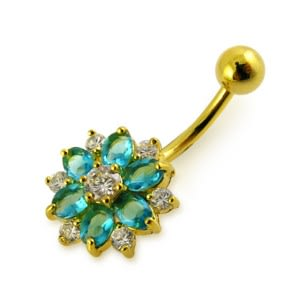 14G 10mm Yellow Gold Plated Silver Aquamarine Jeweled 2 Color Flower Belly Bar