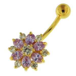 14G 10mm Yellow Gold Plated Silver Lavander Jewel Double Color Flower Belly Bar