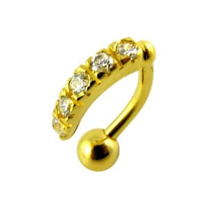 14G 10mm Yellow Gold Plated Sterling Silver Clear Jewel Reverse Belly Curve Bar
