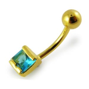 14G 10mm Yellow Gold Plated Silver Aquamarine Jeweled Non-Moving Belly Bar