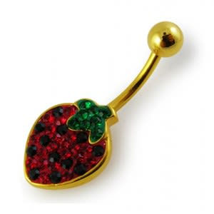 14G 10mm Yellow Gold Plated Silver Red Jeweled Strawberry Non-Moving Belly Bar