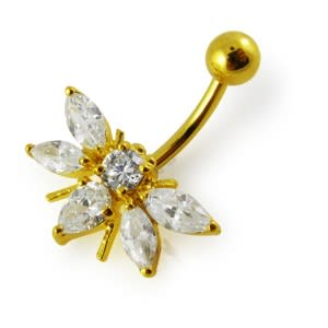 14G 10mm Yellow Gold Plated Sterling Silver Clear Jeweled Fancy Belly Navel Bar