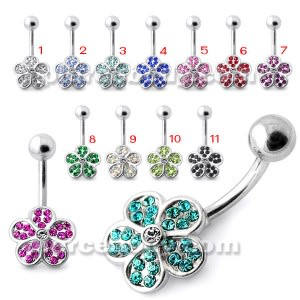Multi Jeweled Flower Non Dangling Navel Belly Bar