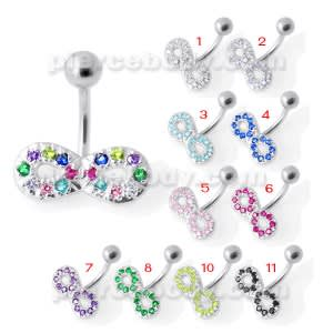 Jeweled Infinity Non Dangling Navel Bar