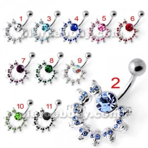 Multi Skull Non Dangling Belly Bar