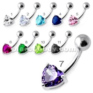 Single Jeweled Heart in Claw Setting Navel Belly Bar