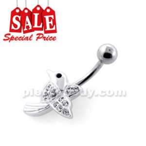 Jeweled Flying Sparrow Navel Belly Bar