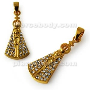 Gold Platted Virgin Mary Jeweled Pendant