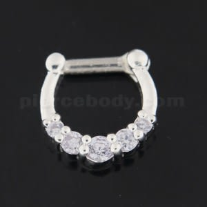 925 Sterling Silver 5 Paved Stones Septum Piercing
