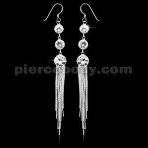 925 Sterling Silver cubic zirconia in a Bezel Long Tail Hook Ear Ring