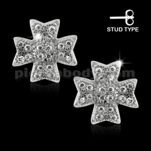 925 Sterling Silver Irish Cross Cubic Zirconia Ear Stud