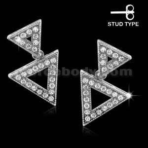 925 Sterling Silver Micro pave Double Triangle Ear Stud