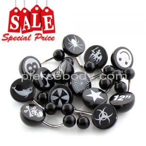 50 Pieces Laser Logo on UV Black Half Ball Belly RIng