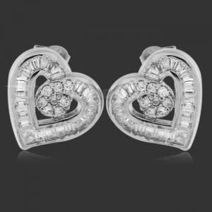 Four Color Crystal Earring Brass With Rhodium  Body Jewelry