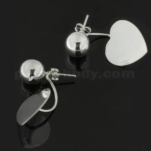 925 Sterling Silver Plain Ball with Heart Ear Stud Ear Ring