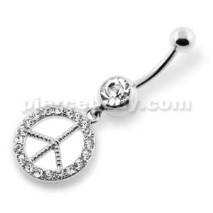 Dangling Jeweled Peace Navel Belly Ring