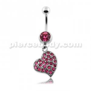 Multi Jeweled Heart Belly Button Piercing