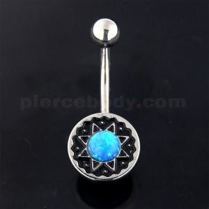 Surgical Steel Tribal Star with Blue Opal Belly Button Piercing