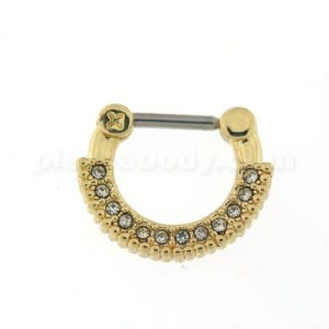 Gold PVD Single Line Micro Paved Septum Clicker Piercing