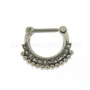 Single Line Micro Paved CZ with Tribal Dots Septum Clicker Piercing
