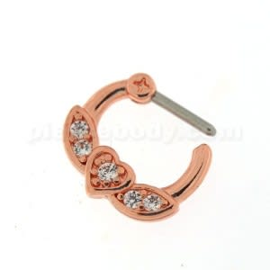 Rose Gold PVD Micro Paved CZ Flying Heart Septum Clicker Piercing