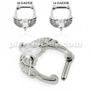 Angel Wings with Heart CZ Septum Clicker