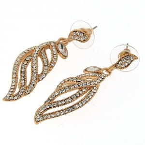 Fancy Jeweled Feather Hanging Ear Stud