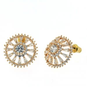 Wheel Carved with Micro Setting  Earring Stud