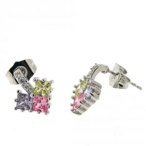 Fancy Jeweled Triangle Three Color Stone Ear Stud