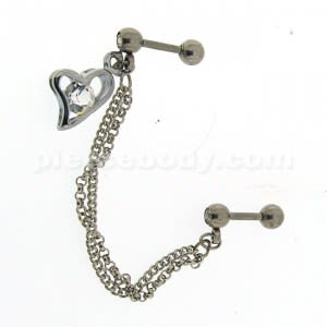 Surgical Steel Helix Slave Piercing with Jeweled Heart