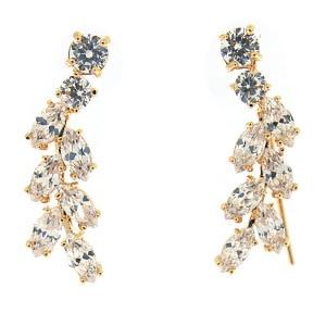 Fancy Jeweled Hanging Leaf Hoop Earrings