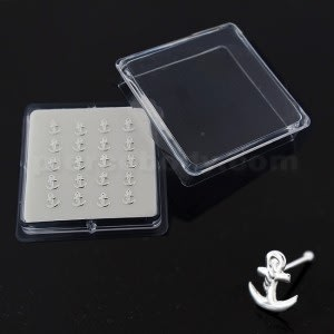 925 Sterling Silver Anchor Nose Bone Stud in Box